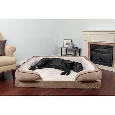 FurHaven Velvet Waves Perfect Comfort Cooling Gel Sofa Dog Bed
