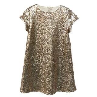 Little Girls Blush Pink Sparkle Sequin Katy Short Sleeve Shift Party Dress 2-6