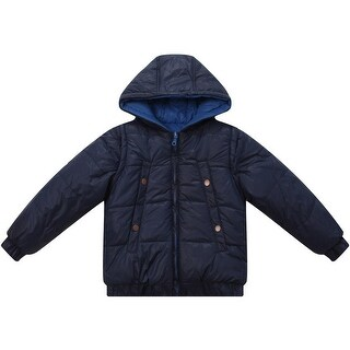 Richie House Baby Boys Blue Hooded Removable Sleeves Padded Jacket 12M