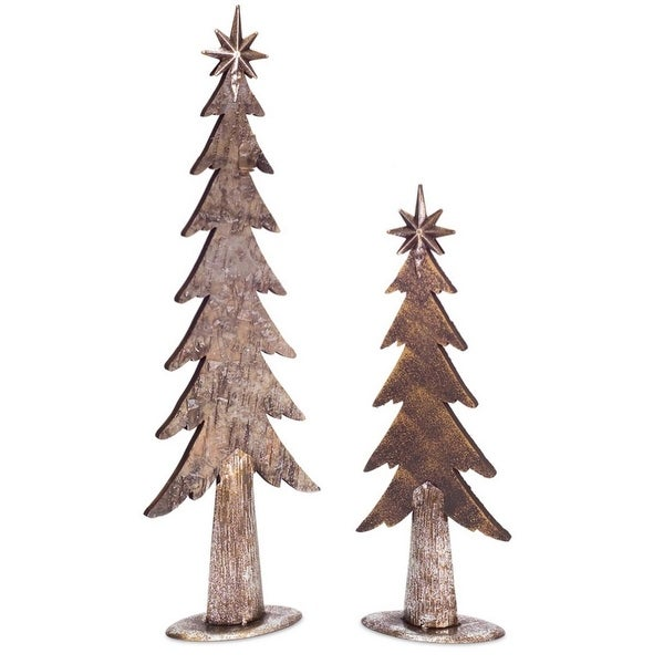 """Set of 4 Bronze Colored Christmas Tree Tabletop 25.5"""""""