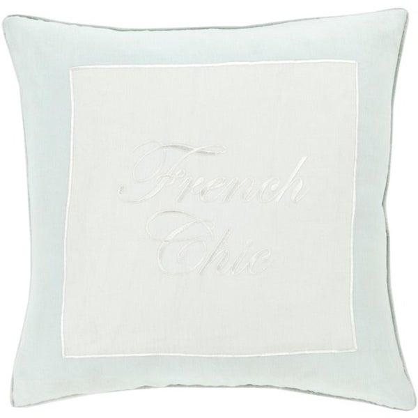 "20"" Snow White and Tiffany Blue Decorative Pillow - Polyester Filler"