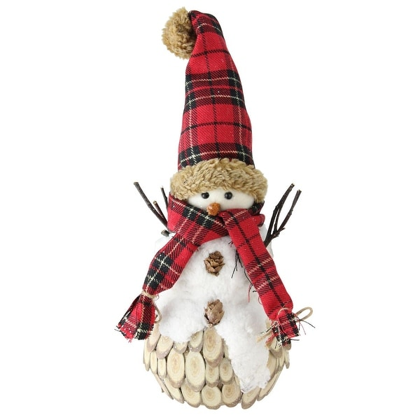"13.5"" Holiday Moments Snowman with Red Plaid Scarf and Hat Christmas Table Top Decoration - WHITE"