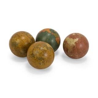 "Set of 4 Antique Finish Decorative Globe Spheres 4"""