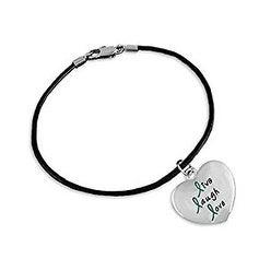 Teal Live Laugh Love Heart Charm on Black Cord Bracelet
