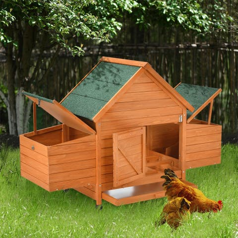 Leisure Zone Small Wood Chicken Coop with Removable Tray and Ramp (for 2-3 Chickens)
