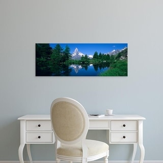 Easy Art Prints Panoramic Images's 'Snow covered mountains, Grindjisee, Matterhorn, Zermatt, Switzerland' Canvas Art