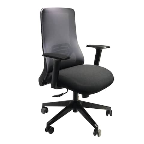 Mesh Back Adjustable Ergonomic Office Swivel Chair with Padded Seat and Casters, Black and Gray