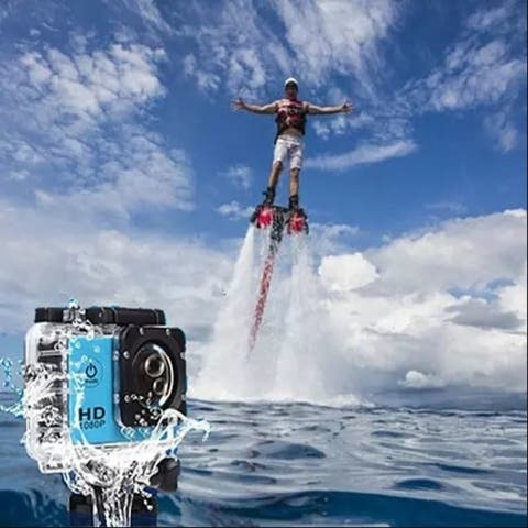 All Pro 1080P Action Sports Camera With Waterproof Accessory Case - blue