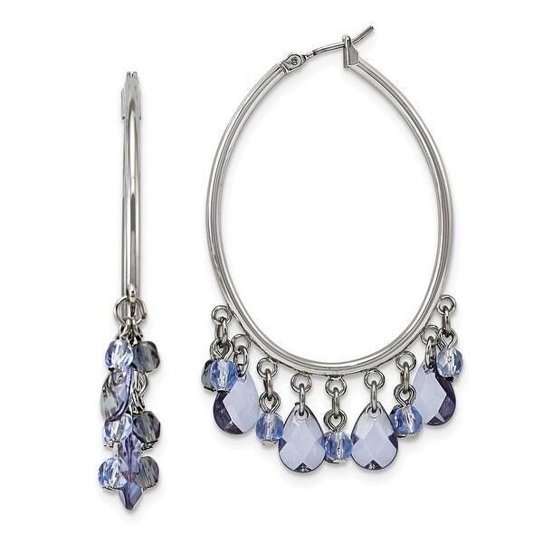 Silvertone Light and Dark Blue Crystal Circle Drop Earrings