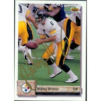 Signed Brister Bubby Pittsburgh Steelers 1992 Upper Deck Football Card autographed