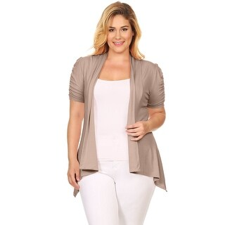 Plus Size Open Front Cardigan Ruched Short Sleeve Asymmetric Flyaway Cardigan USA