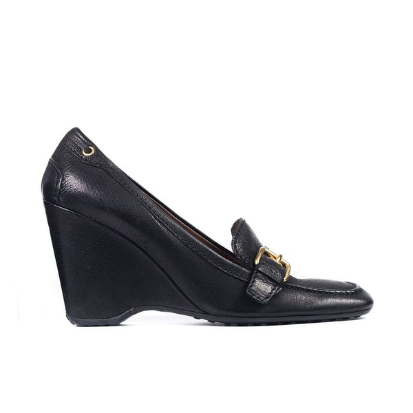 06c201dcfd Shop Car Shoe By Prada Women's Black Leather Buckled Wedges IT40 ...