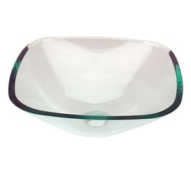 Glass Vessel Bathroom Sink Square Clear Pop-up In