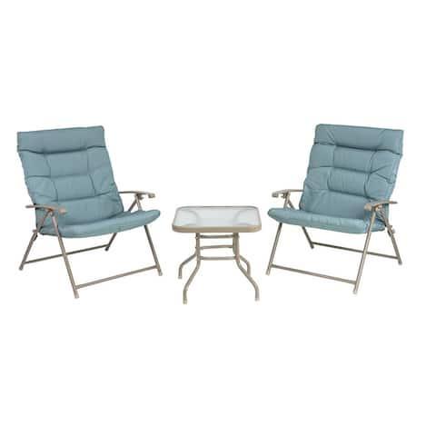 Patio Premier 3pc Folding Set with Cushions, Taupe Frame, Aqua Cushions