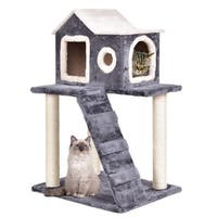 Gymax 36'' Cat Tree Kitten Activity Tower Furniture Room Condo Scratching Posts Ladder - gray