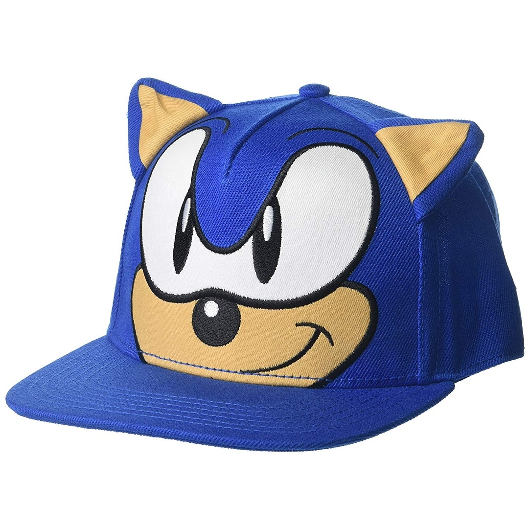 Shop Sonic The Hedgehog Face Flat Brim Hat Overstock 22427081