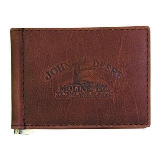 John Deere Western Wallet Mens Pocket Money Clip Vintage Brown 4083000 - One size
