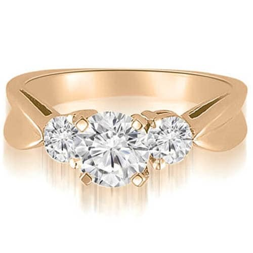 1.00 cttw. 14K Rose Gold Round Cut Three-Stone Diamond Engagement Ring