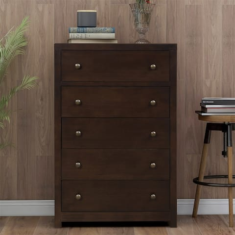 Merax Vintage Aesthetic 5 Drawers Solid Wood Chest