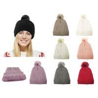 Chunky Cable Knit Beanie Hat With Pom Pom - Winter Soft Stretch Cap Hat