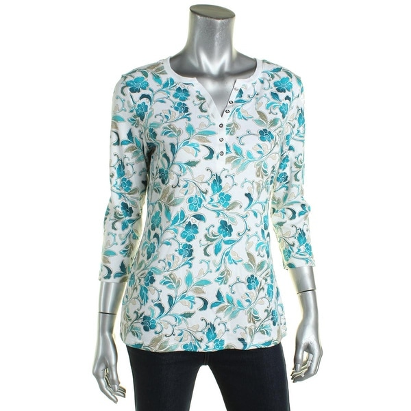 57efd5d1 Shop Karen Scott Printed Henley Green Printed Casual Top, Size S - Free  Shipping On Orders Over $45 - Overstock.com - 21194234