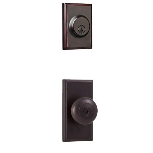 Weslock 3740I-3771 Impreza Single Cylinder Keyed Entry Knob Set with Woodward Rosette and Woodward Deadbolt from the Elegance