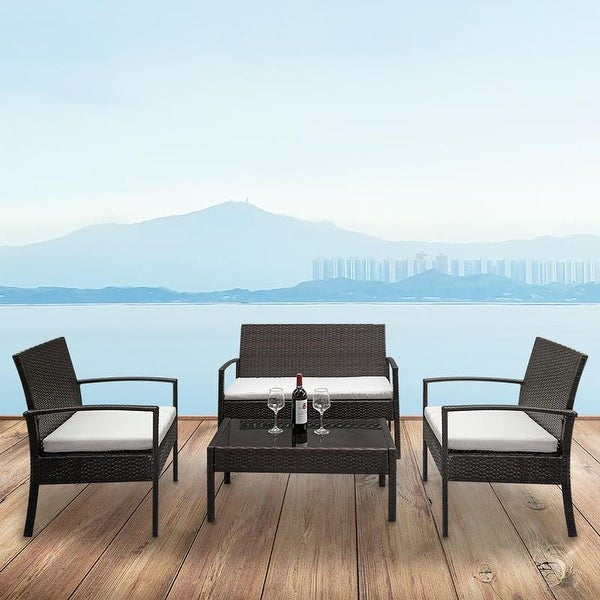 Outdoor Patio Rattan Wicker 4-piece Chair with Coffee Table Set