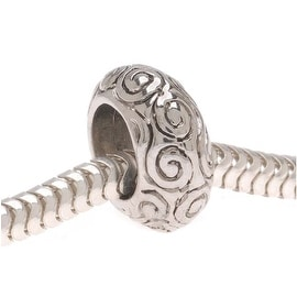 Silver Tone European Style Large Hole Bead With Spiral Swirl Pattern (1)