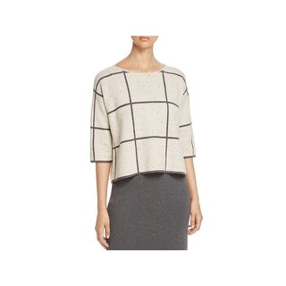 Eileen Fisher Womens Petites Pullover Sweater Wool Blend Window Pane