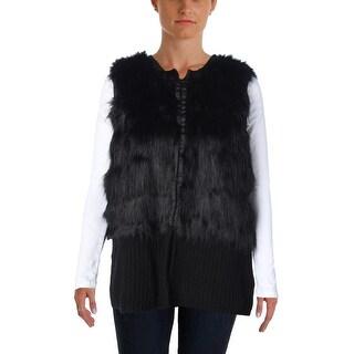 Vince Camuto Womens Knit Faux Fur Outerwear Vest