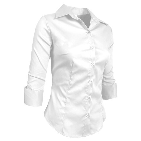 NE PEOPLE Roll Up 3/4 Sleeve Button Down Shirt with Stretch [NEWT01]