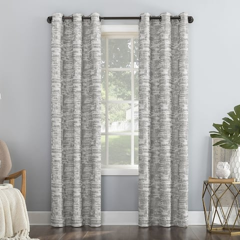 Sun Zero Parrish Distressed Grid Thermal Extreme Total Blackout Grommet Curtain Panel