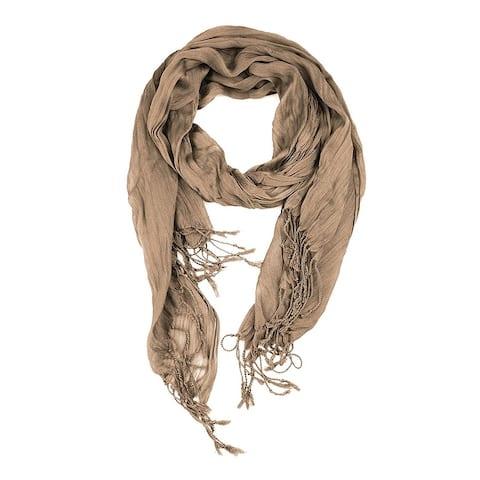 Women's All Seasons Solid Plain Lightweight Soft Wrinkled Scarf