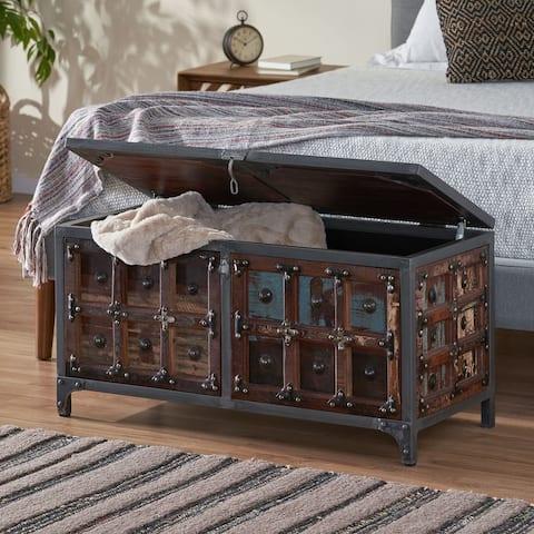 Burtnett Indoor Wood Handcrafted Storage Trunk by Christopher Knight Home