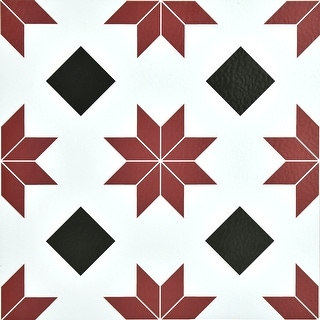 """Brewster FP2482  Orion 12"""" x 12"""" Square Southwestern Self-Adhesive Vinyl Peel and Stick Floor Tiles - Red"""