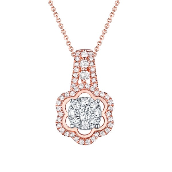 G-H/SI1 0.75 Carat Natural Round Diamond Designer Pendant With 17 Inches Chain - White