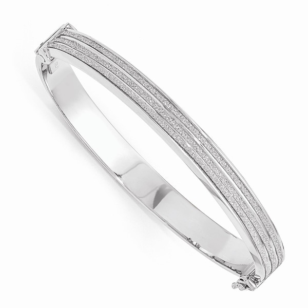 Italian Sterling Silver Glimmer Infused Hinged Bangle