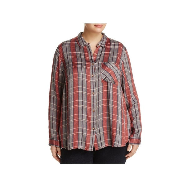 Lucky Brand Womens Plus Button-Down Top Plaid Long Sleeve
