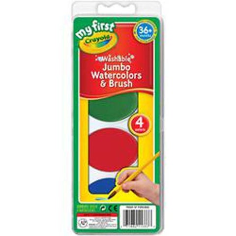 Red; Yellow; Green & Blue - My First Crayola Washable Jumbo Watercolors & Brush Set
