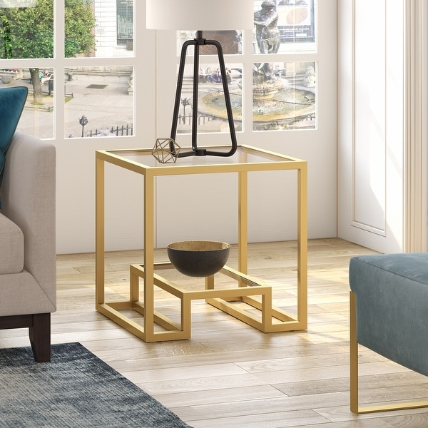 Athena Geometric Luxe Side Table in Gold. Opens flyout.