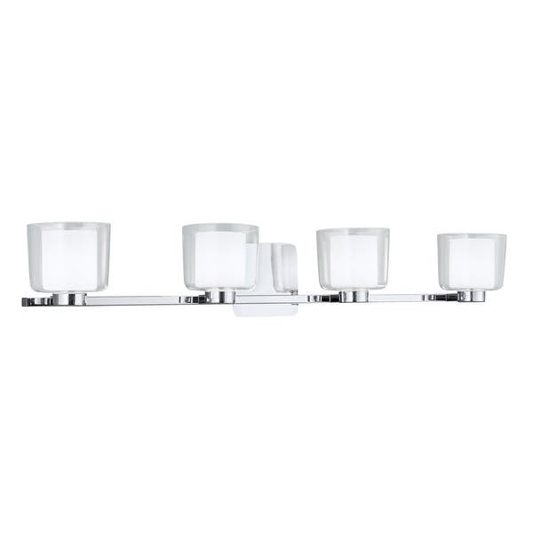 Shop Norwell Lighting 5334 Alexus 6 Tall 4 Light Bathroom Vanity Light Overstock 13035801 Brushed Nickel With Clear Glass