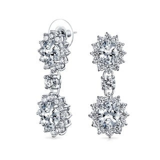 Bling Jewelry CZ Round Crown Set Oval Drop Earrings Rhodium Plated Brass