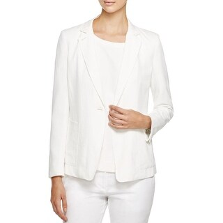 Pure DKNY Womens Petites One-Button Blazer Notch Lapel Lone Sleeves