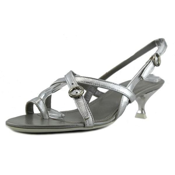 Hogan Ete' Cinturino Caviglia Women Open Toe Leather Silver Sandals