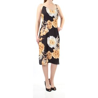 Womens Gold Black Floral Spaghetti Strap Below The Knee Sheath Cocktail Dress Size: 8