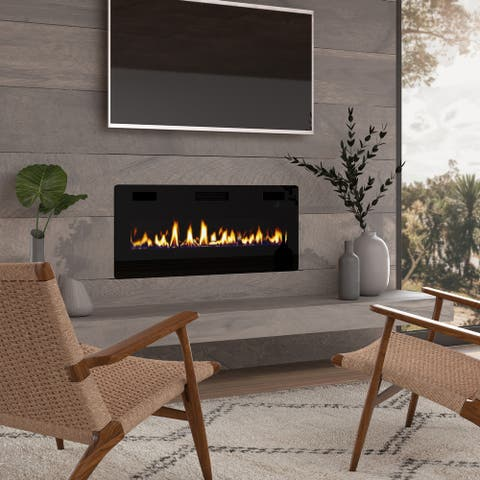 42-inch Ultra-thin Electric Fireplace Insert for Wall-mounted or In-wall Installation