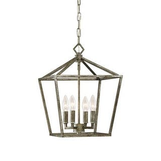"""Millennium Lighting 3234 4 Light 12"""" Wide Pendant with Cage Frame and Candle Style Lights
