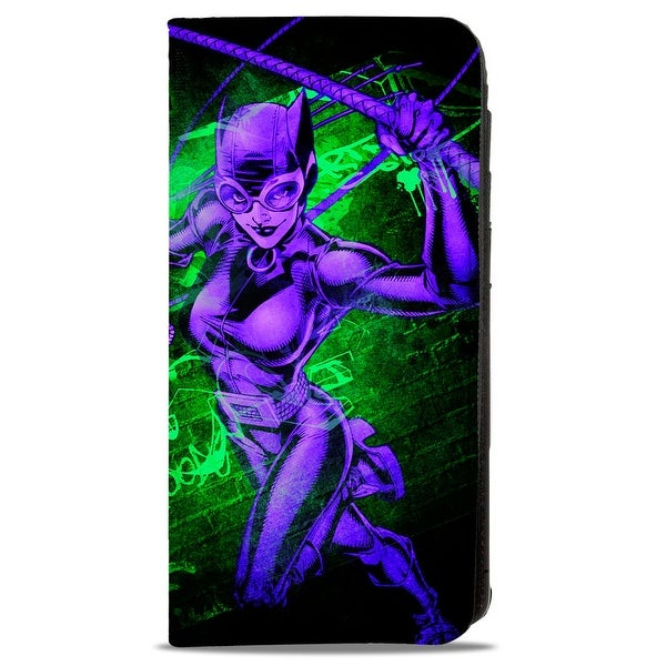 Catwoman Whip Pose Graffiti Black Greens Purples Canvas Snap Wallet - One Size Fits most