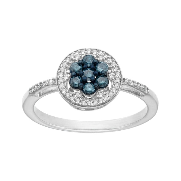 1/3 ct Blue and White Diamond Flower Ring in Sterling Silver