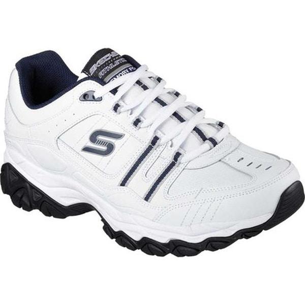c6bc86364181 Skechers Men's After Burn Memory Fit Strike On Sneaker White/Navy